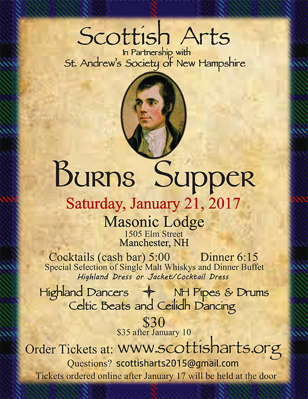 Join us January 21, 2017 for our annual Burns Night Clebration.